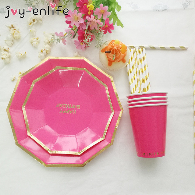 JOY-ENLIFE 24pcs Party Tableware Combo Solid Color Paper Cups Plates Children Party Decor Baby  sc 1 st  AliExpress.com & JOY ENLIFE 24pcs Party Tableware Combo Solid Color Paper Cups Plates ...