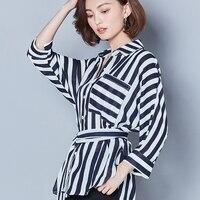 BIBOYAMALL Donne Camicette Primavera OL Lavoro D'ufficio Signora Chiffon Stripes Camicette Eleganti Camicette Donna Shirt Top