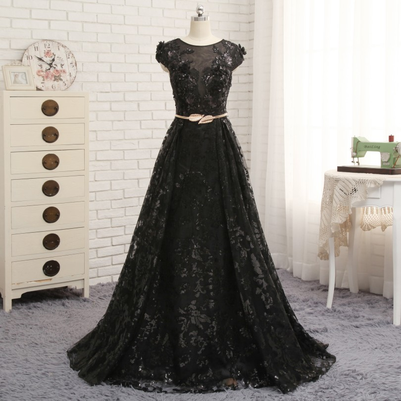 Nouveaux Styles robes De soirée noir Sequin Appliques 3D fleurs robes formelles pour la fête De mariage Communion Vestido De Festa