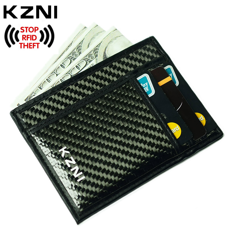 KZNI Rfid Leather Card Wallet for Credit Cards Carbon Fiber Wallet with Money <font><b>Clip</b></font> Rfid Blocking Purse Clutch Leather 004