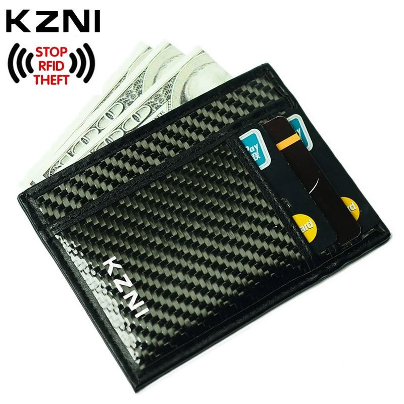 Kzni RFID кожаный бумажник карты для кредитных карт углерода Волокно кошелек с зажимом для денег RFID Блокировка Кошелек сцепления кожаные 004 ...