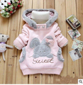 2016 Retail Children Clothing Cartoon Rabbit Fleece Outerwear girl fashion clothes/hooded jacket/Winter Coat roupa infantil