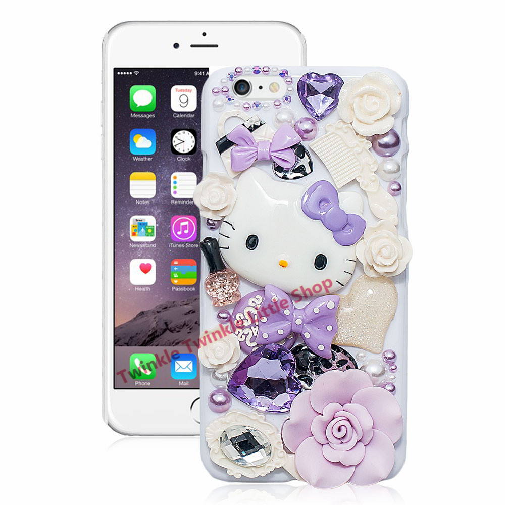 Cute Hello Kitty Crystal Pearl 3D Case For iPhone Back ...