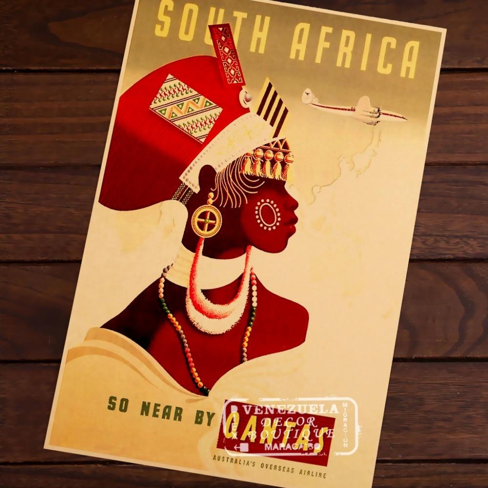 South Africa Qantas Airline Art Classic Vintage Retro Decorative ...