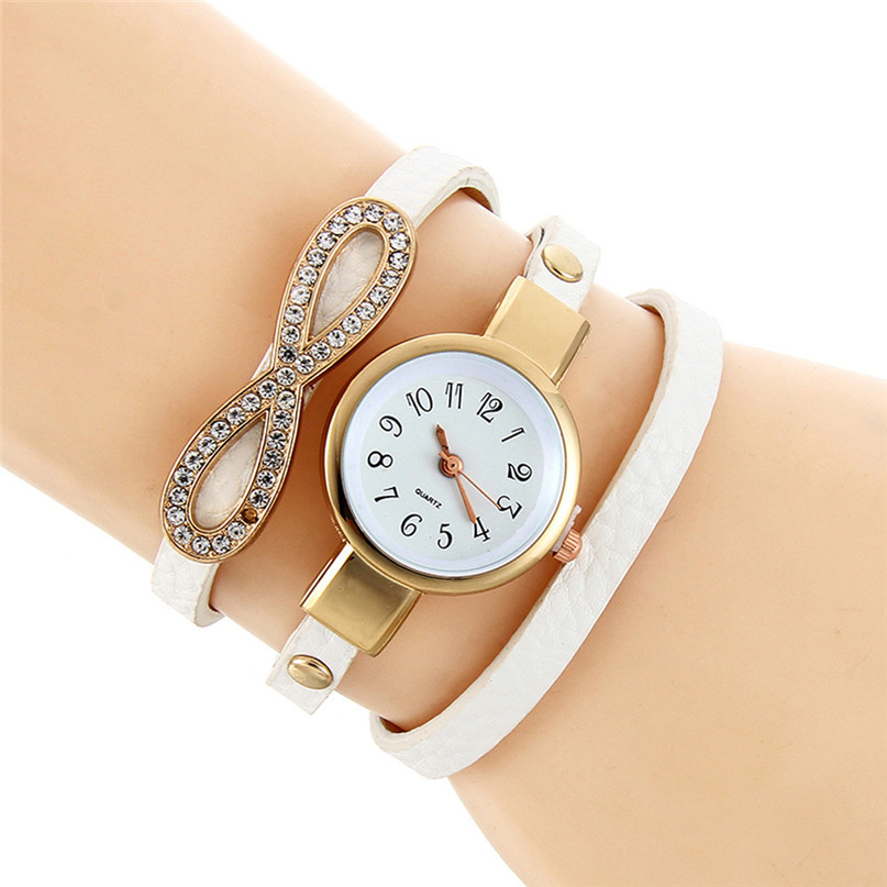 Fashion Luxury Brand New Women Rhinestone White Bracelet Watch Pu Leather Ladies Quartz Casual Wristwatch 5