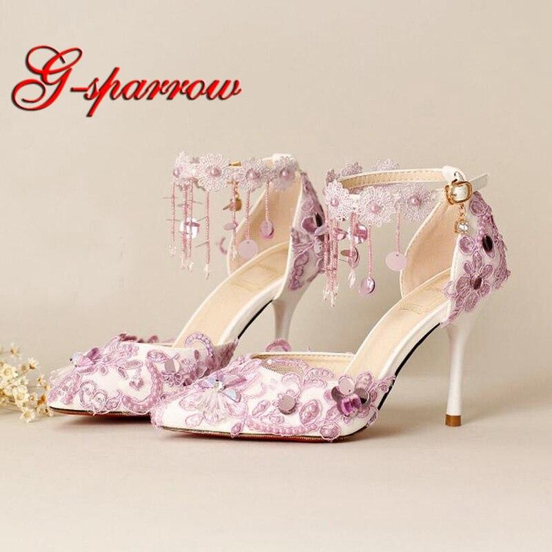 Fashion Purple Lace Bride Dress Shoes Handmade Pointed Toe Wedding Party Shoes Platform Prom Event Pumps Bridesmaid Shoes