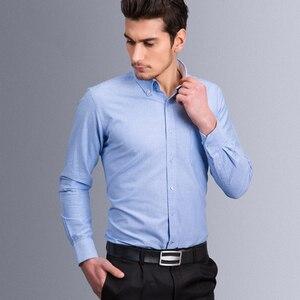 Image 2 - Vestido Oxford de manga larga, informal, con botones hacia abajo, parche para camisa, bolsillo en el pecho, camisas clásicas de corte estándar de algodón gruesas