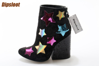 Multi Colors Stars Patchwork Women Pointed Toe Glitter Ankle Boots Fashion Lightning Side Ladies Chunky Heel