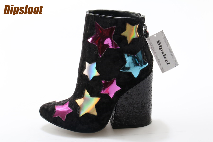 Multi Colors Stars Patchwork Women Pointed Toe Glitter Ankle Boots Fashion Lightning Side Ladies Chunky Heel Boots Knight Boots пуф patchwork colors