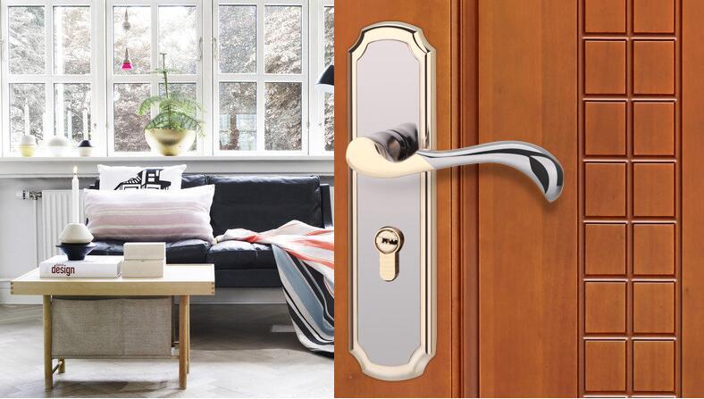 High-grade electroplate zinc alloy door lock Inside the bedroom door modern Jane european-style door lock the ivory white european super suction wall mounted gate unique smoke door