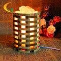 Creativa moderna lámpara de cristal de sal de bambú hecha a mano 110 V-220 V lámparas de mesa lámpara de la mesita de Ojos lámpara de mesa de Luz