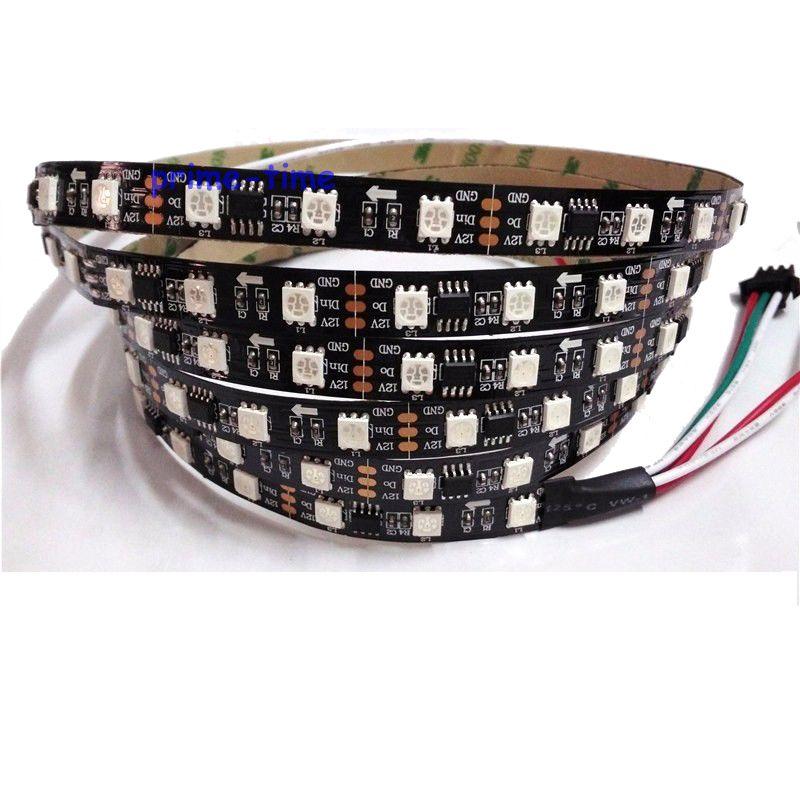 5m WS2811 12V 60 led / m 20ks ws2811 ic / metr (20pixels) led digitální páska Černá deska plošných spojů; adresovatelné, barva snů, nepropustná