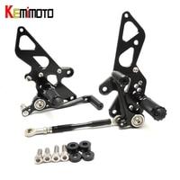 KEMiMOTO Motorcycle Accessories Adjustable Rear Set Rearsets Footrest For Kawasaki NINJA250R EX250K NINJA 250R 2008 2009 2012