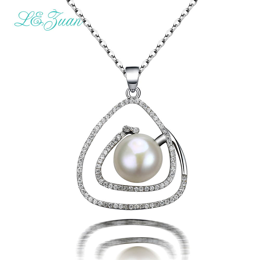 L&zuan 925 Silver Women Necklace Trendy Luxury Triangle Natural Freshwater Pearl Pendant Simple Fine Jewelry Party Gift