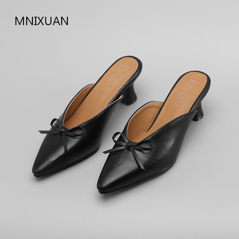 MNIXUAN Fashion slip on elegant butterfly knot sexy women pumps shoes ladies mules spring autumn new