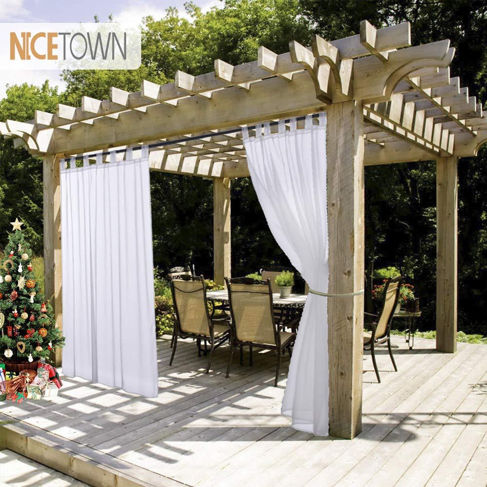 NICETOWN Summer White Indoor Outdoor Curtain Panels Elegant Tab Top Waterproof Curtains For Patio&Garden With Rope Tieback