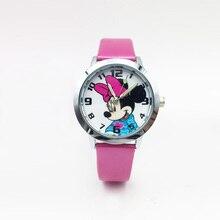 Reloj Маус детские часы PU Кожаный ремешок кварцевые наручные часы для детей девочек студентов светящиеся наручные часы