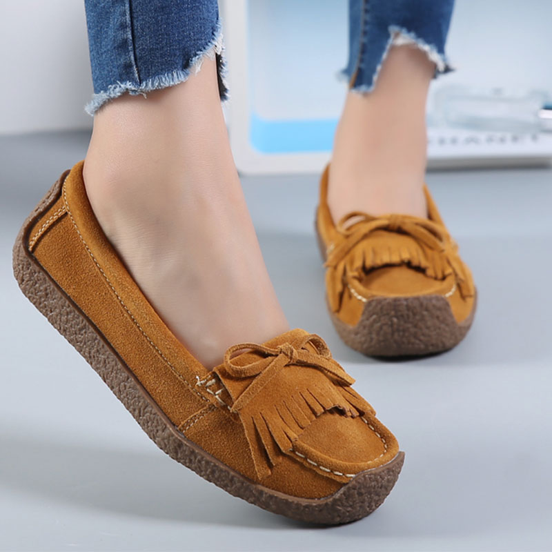 Flats Shoes Women Genuine Leather Moccasins Square Toe Butterfly Knot Fringe Loafers Casual Shoes Size 35-43 Chaussure Femme handmade vintage women shoes genuine leather female moccasins loafers soft comfortable casual shoes flats plus size 35 40