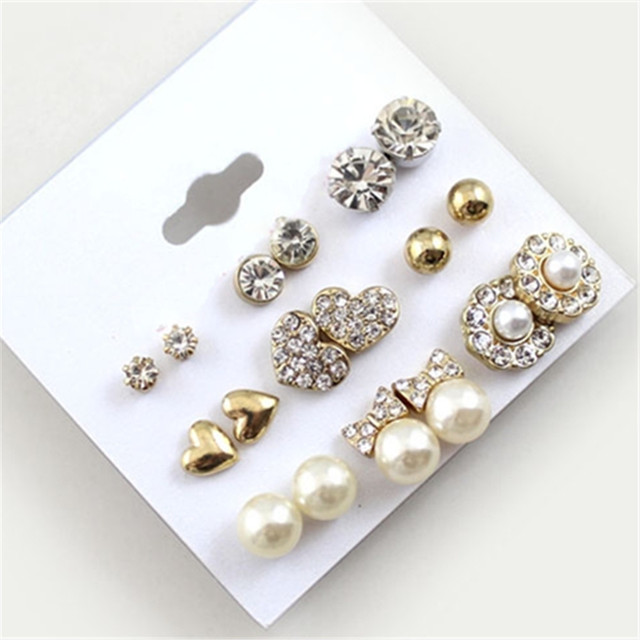 9 Pairs Gold Color Heart Crystal Pearl Flower Earrings