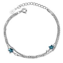 TJP Fashion Women Silver 925 Bracelets For Girl Birthday Party Accessories Trendy Crystal Blue Star Bracelet Jewelry Gift