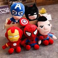 28 см Мстители Лига кукла герой плюшевые игрушки Бэтмен Капитан Америка Человек-паук Железный человек захват кукла