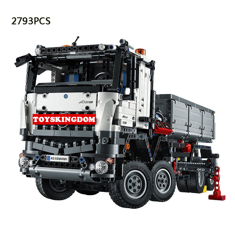 Hot Technics Benz Arocs 3245 Electric big Truck 2 mode building block model Flat Trailer brick 42043 educational toys boys gifts loz mini diamond block world famous architecture financial center swfc shangha china city nanoblock model brick educational toys