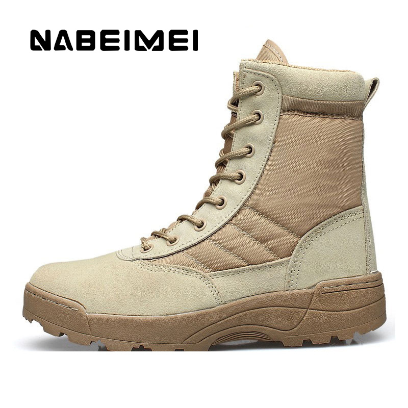 Men boots military boots shoes man 2017 high quality Desert Tactical outdoor shoes superstar army boots mid-calf size 39-45