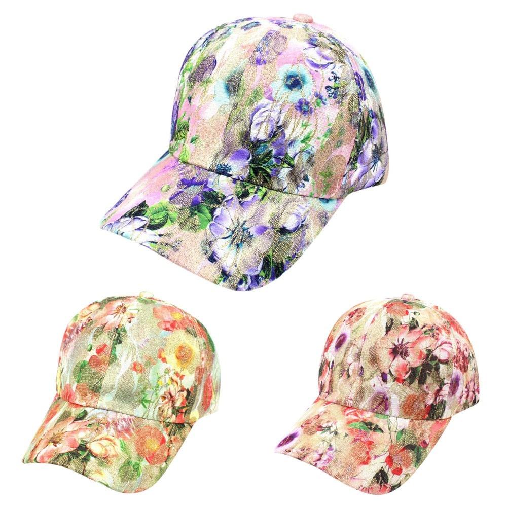 Women Summer Floral Baseball Cap Snapback Caps Hip Hop Hats Adjustable Baseball Cap  Caps Sun Hat  Caps Hip Hop Hats  7.11  0.2(China)