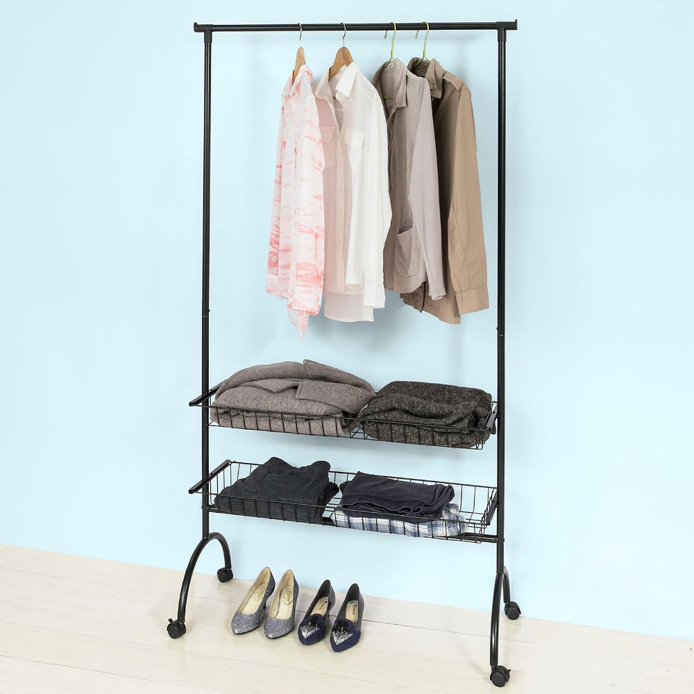 SoBuy FRG243 SCH, Garment storage Clothes Coat Stand Rack with Baskets and Castors