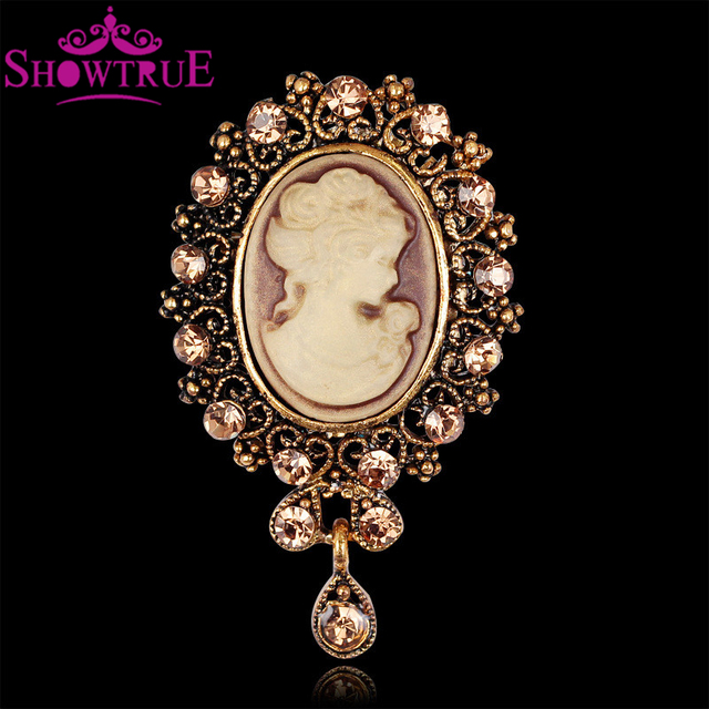 Showtrue new fashion antique gold silver vintage cameo brooch for showtrue new fashion antique gold silver vintage cameo brooch for female brand jewelry queen rhinestone cameo aloadofball