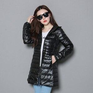 Image 5 - אישה סתיו מרופד סלעית ארוך מעיל לבן ברווז למטה נשי מעיל קל במיוחד Slim מוצק מעילי מעיל נייד מעיילי