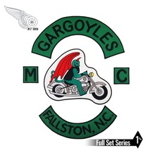 GARGOYLES FALLSTON, N.G MC Iron on Sew On Patch Big Size for Full Back of Jacket Rider Biker Embroidery Patch Free Shipping reapermagic 1% mc iron on patch motorcycle biker large full back size embroidery patch for jacket vest rocker custom