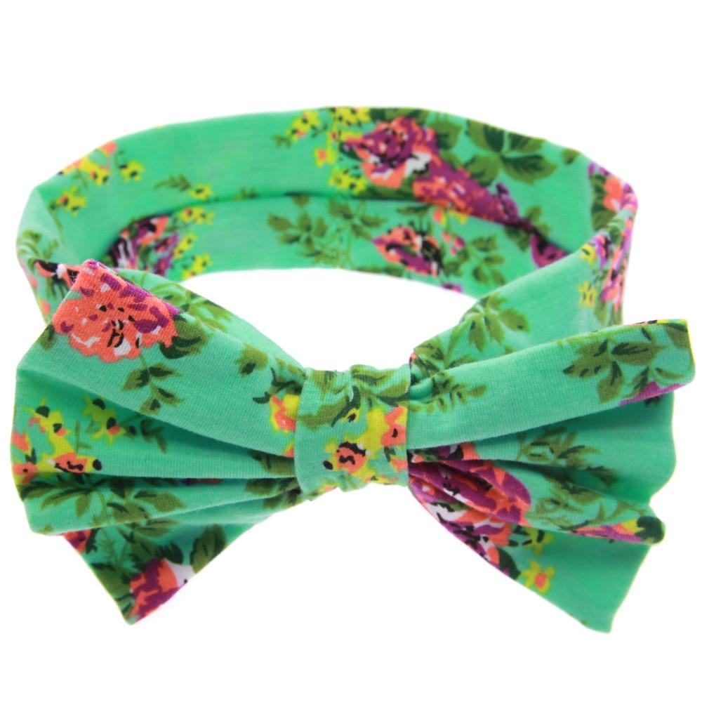TWDVS Kids Printing Flower Bow Knot Elasticity Pannband Nyfött - Kläder tillbehör - Foto 4