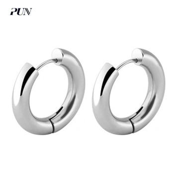 PUN men metal hoop loop earrings piercing charms circle round silver stainless steel earrings titanium hoops punk bts bricos circle