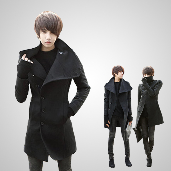 Men's clothing british style Men overcoat male slim medium-long plus velvet woolen trench men's thickening outerwear