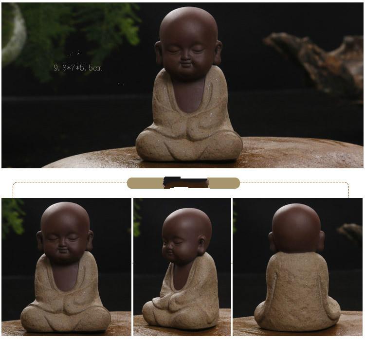 HTB1jaxFaE rK1Rjy0Fcq6zEvVXaf - Buddha Statues Small Monk Color Sand Ceramic Home Club Geomantic Decoration Purple  Figurine Tea Pet