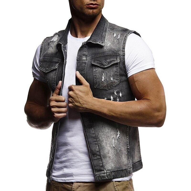 2019 Nieuwste Ontwerp 2019 Nieuwe Mannen Zomer Denim Running Vest Mouwloze Gewassen Gaten Cowboy Hip Hop Ripped Streetwear Cardian Tops Heren Casual Shirts