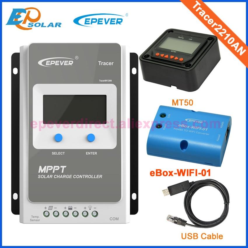 купить Tracer2210AN mppt solar panel regulators 20A 20amp wifi function USB cable and MT50 remote meter 12v/24v недорого