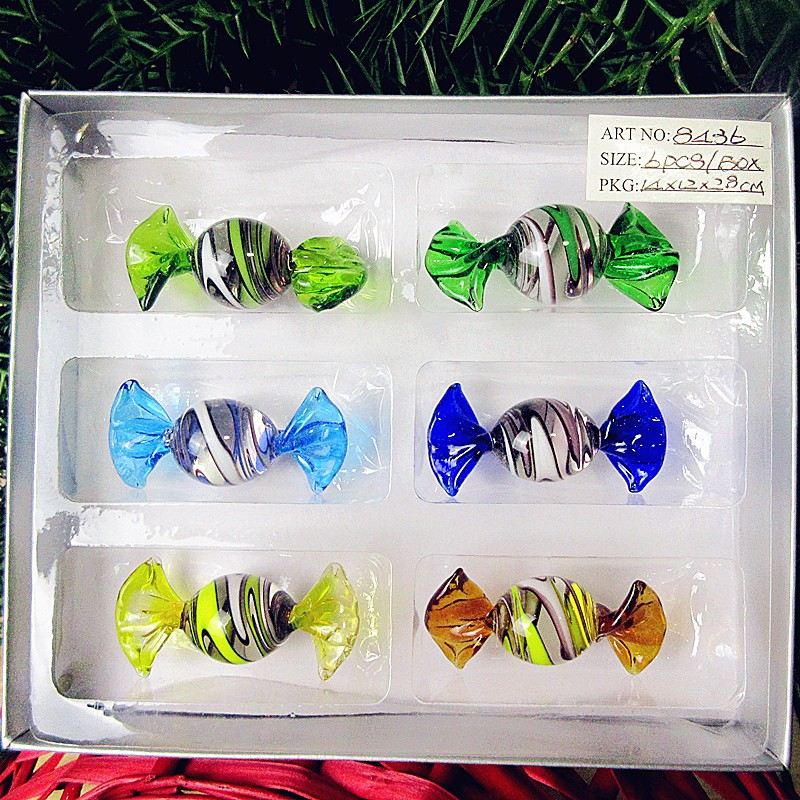 6pcs Custom antique hand blown Murano screw thread glass sweets Christmas decoration Pendant glass candy kids birthday gifts in Wind Chimes Hanging Decorations from Home Garden