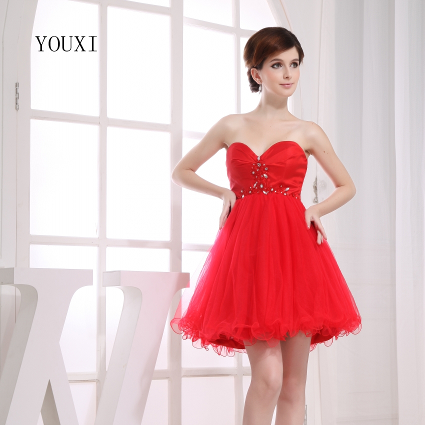 Sexy Red Chiffon Short   Prom     Dresses   2019 Hot A-Line Cocktail Party   Dress   For Women PD118