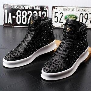 Image 3 - Nueva llegada mens casual punk de noche vestido club zapato remaches de cuero genuino botas pisos zapatos de plataforma etapa tobillo botines zapatos