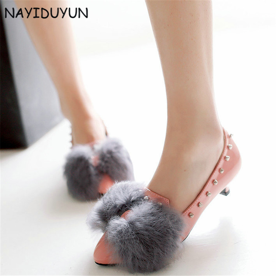 NAYIDUYUN Women Slip On Spike Studded Patent Leather Party Pumps Low Heels Big Fur Point Toe Ankle Boots Casual Office Shoes