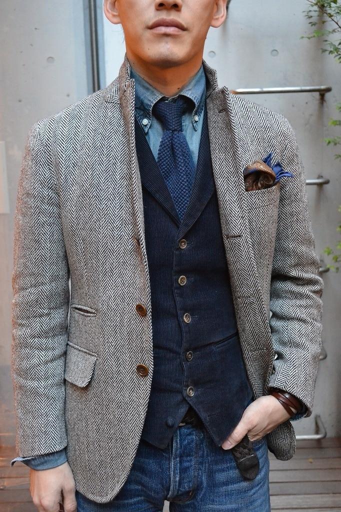 Veste en Tweed pour hommes sur mesure pour hommes, manteau à chevrons gris pour hommes, manteau en Tweed pour hommes-in Costume Vestes from Vêtements homme    1