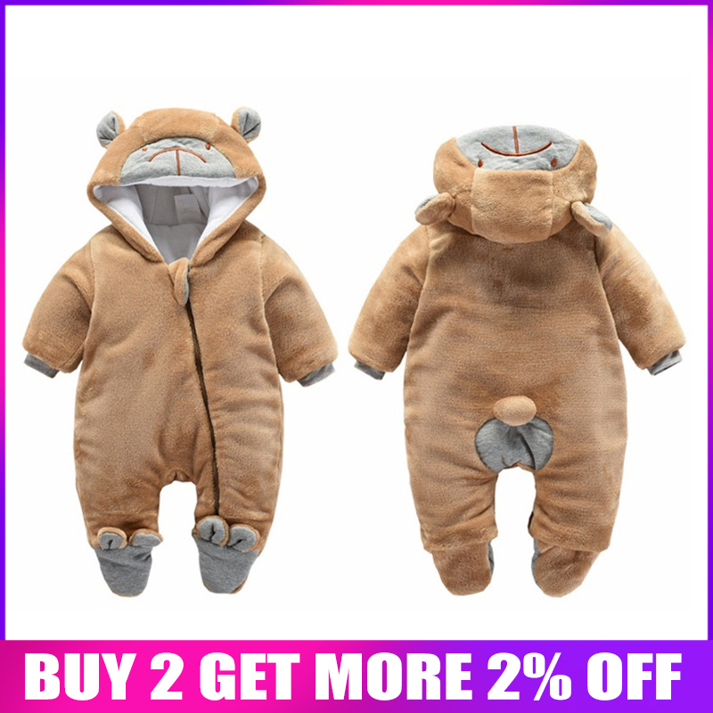 BibiCola newborn   rompers   winter thick warm baby girls   rompers   jumpsuit clothing infant bebe cartoon warm outfits snowsuit