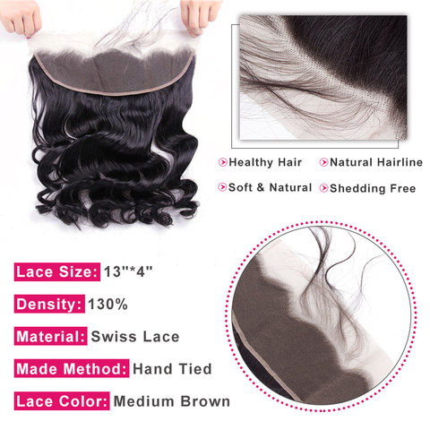 bling hair Loose Wave Lace Frontal Closure With Baby Hair 13*4 Free Part Brazilian Remy Human Hair Natural Color Free Shipping Karachi