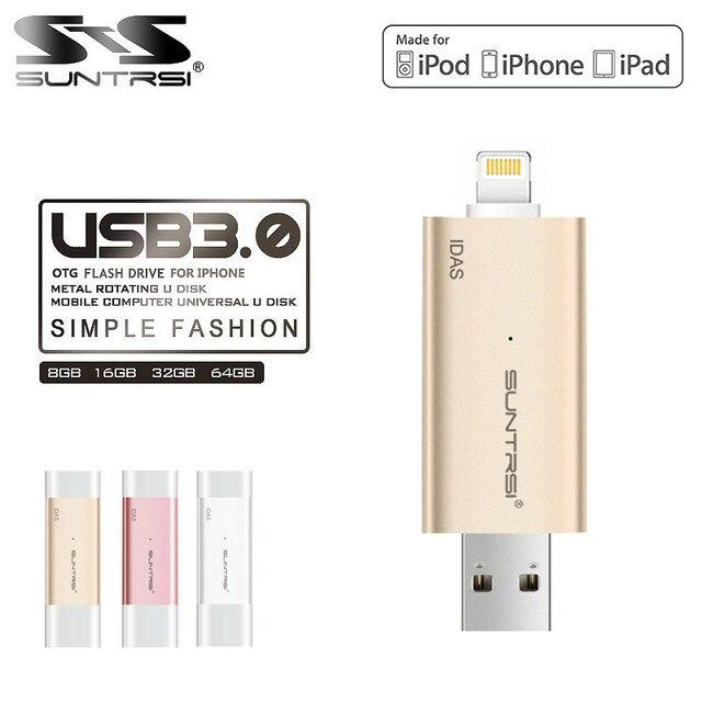 Suntrsi IDAS OTG USB 3.0 Flash Drive 32 GB 64 GB 128 GB de La Pluma unidad Móvil de Memoria Mini USB Stick Para Iphone Dual Doble enchufe
