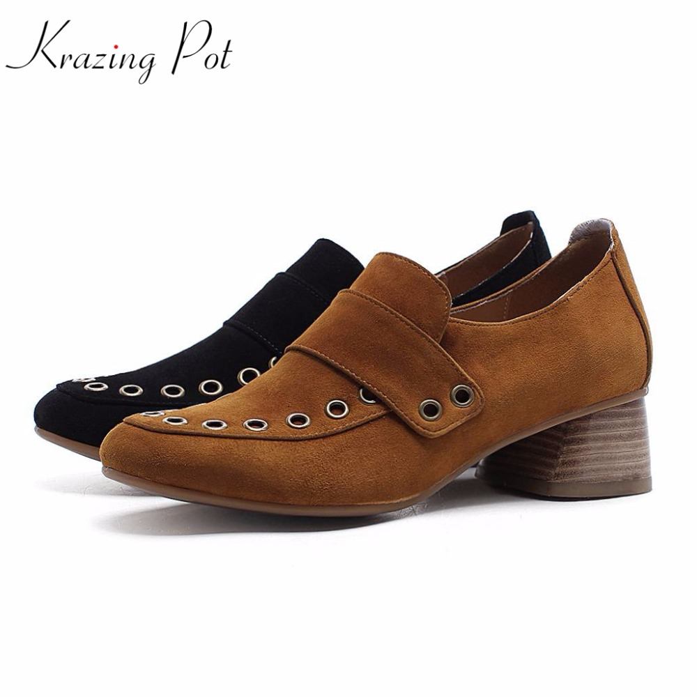 Krazing Pot brand shoes cow suede round toe spring shoes rivets decorations square med heels high street fashion women pumps L11 100pcs lot 6colors 12mm round spikes fashion pop rivets stud hardware w screw for bags shoes wallets belts
