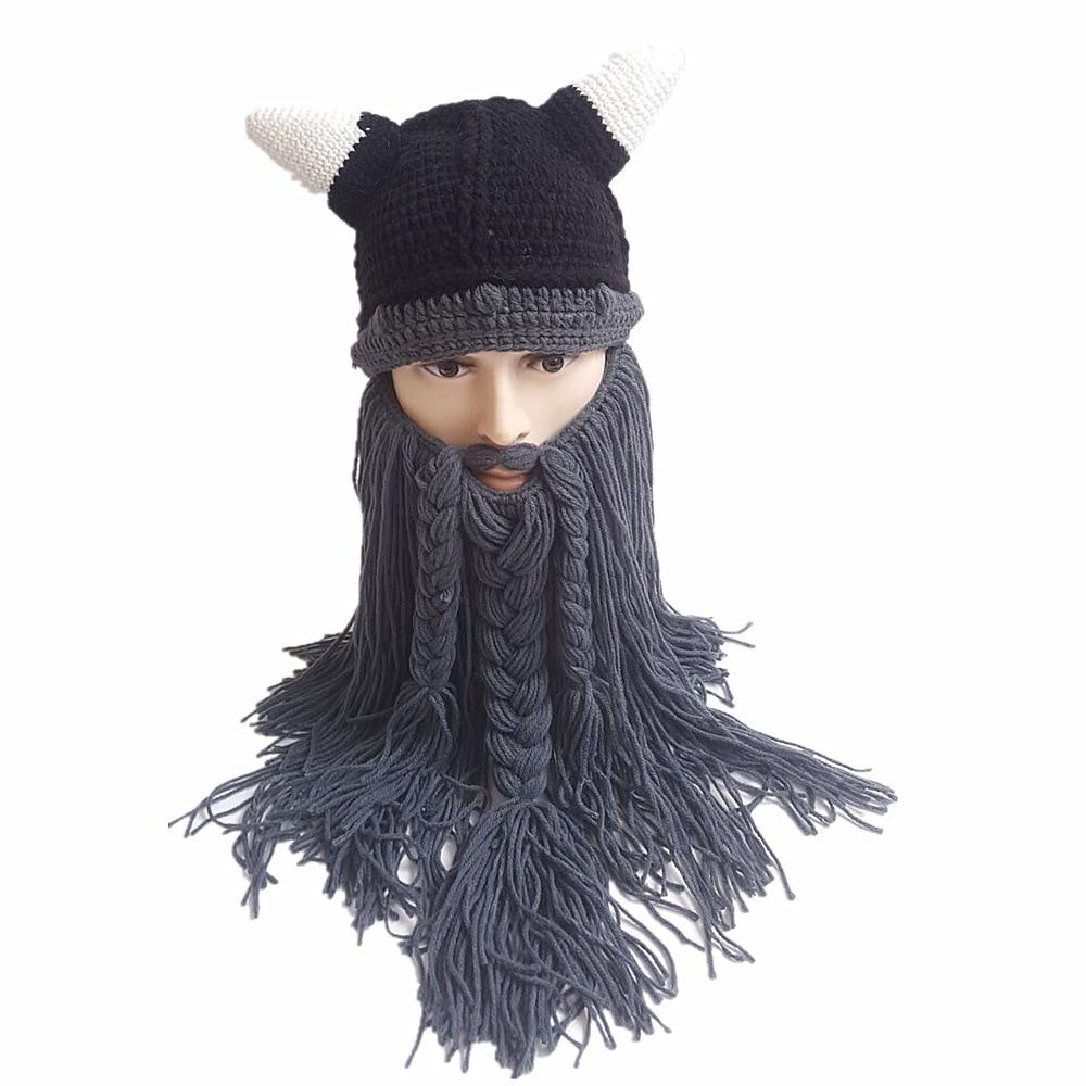 Men's Beard Horn Hat Handmade Knit Winter Warm Cap Men Bicycle Mask Women Birthday Cool Funny Gag Party Xmas Gifts Halloween Cap