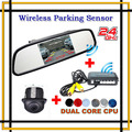 Wireless Car Rear View Camera Mirror Monitor With Parking Alarm Sensor Radar Reverse Assistance Video System + Sound Alarm