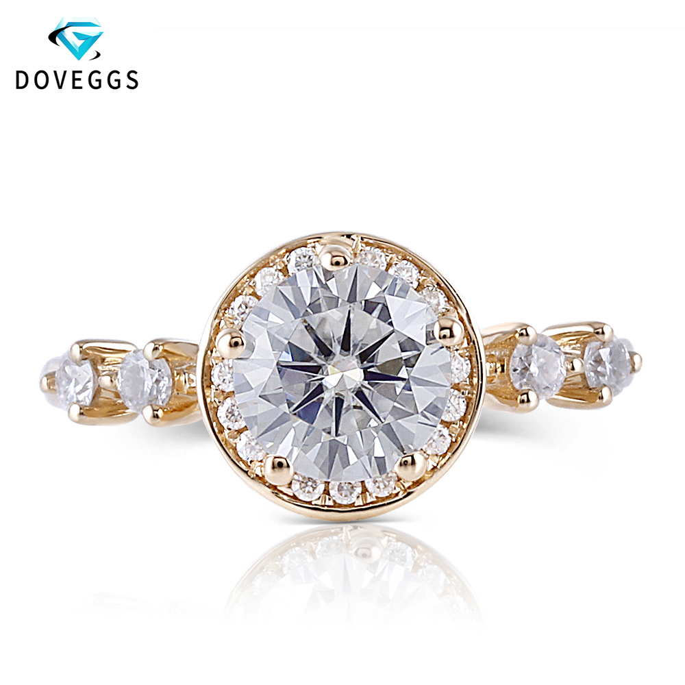 DovEggs 14K Yellow Gold Center 1ct carat 6.5mm F Color Moissanite Diamond Halo Engagement Ring For Women Gold Ring with Accents цены онлайн
